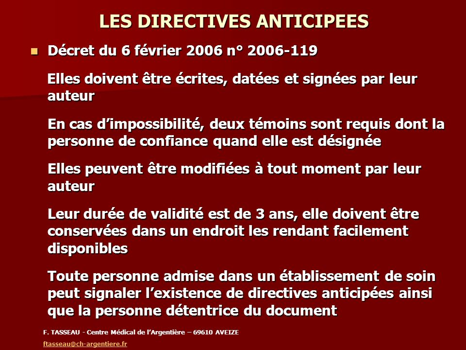 LES DIRECTIVES ANTICIPEES