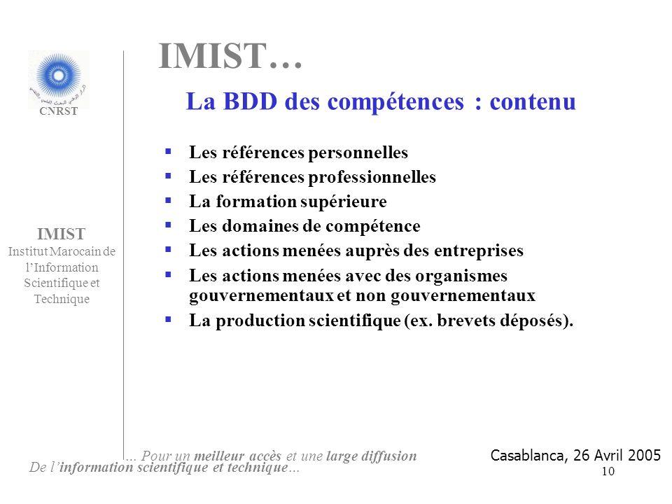 La BDD des compétences : contenu