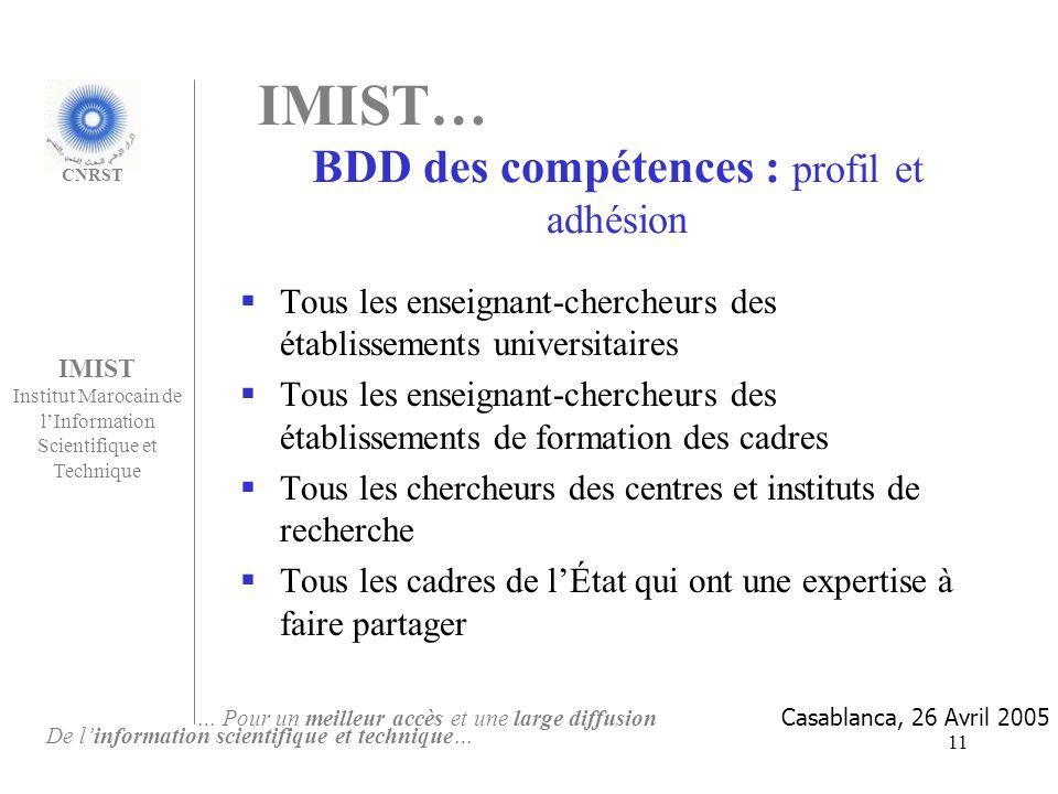 IMIST… BDD des compétences : profil et adhésion