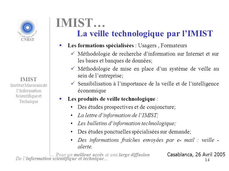 La veille technologique par l'IMIST