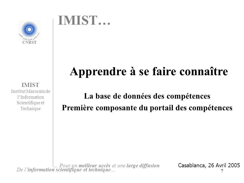 IMIST… Apprendre à se faire connaître