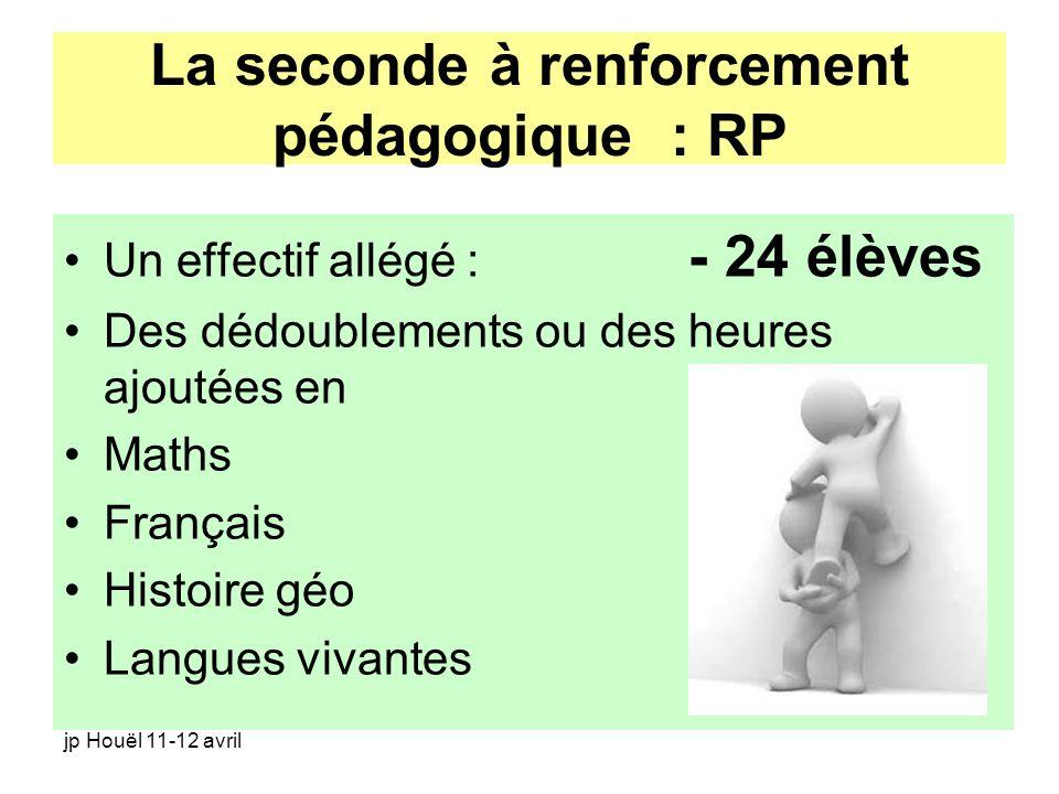La seconde à renforcement pédagogique : RP
