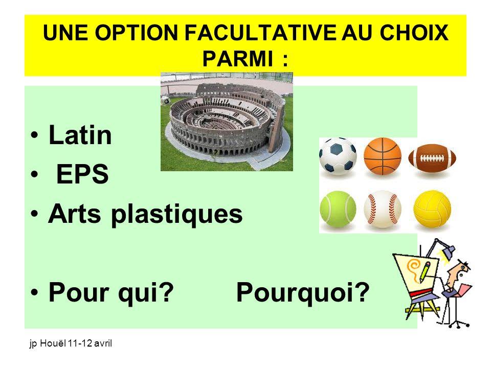 UNE OPTION FACULTATIVE AU CHOIX PARMI :