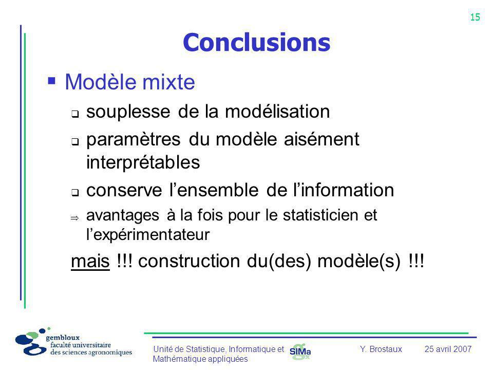 Conclusions Modèle mixte souplesse de la modélisation