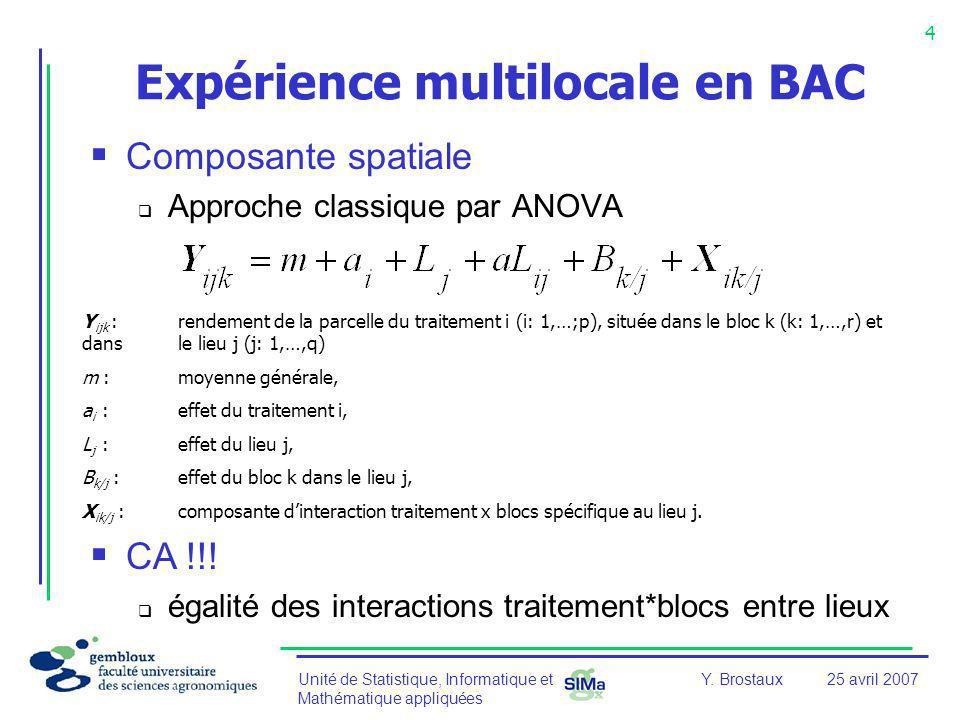 Expérience multilocale en BAC