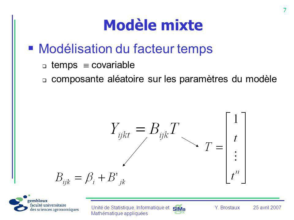 Modèle mixte Modélisation du facteur temps temps  covariable
