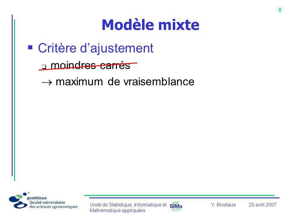 Modèle mixte Critère d'ajustement moindres carrés