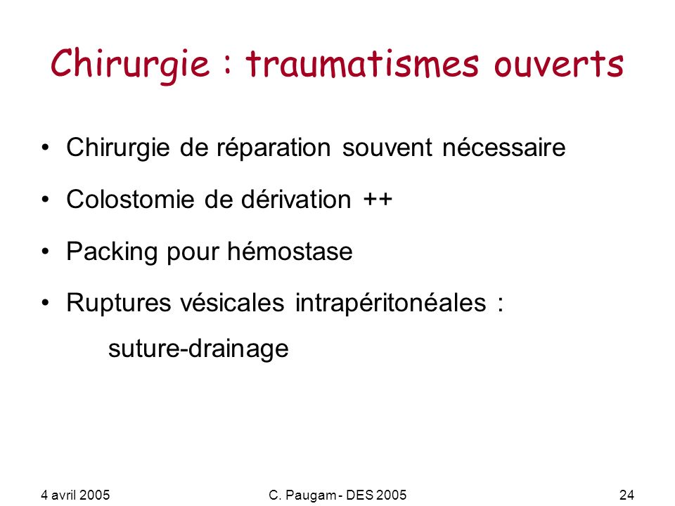Chirurgie : traumatismes ouverts