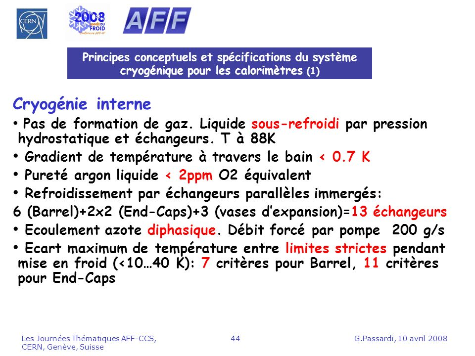 Cryogénie interne Gradient de température à travers le bain < 0.7 K