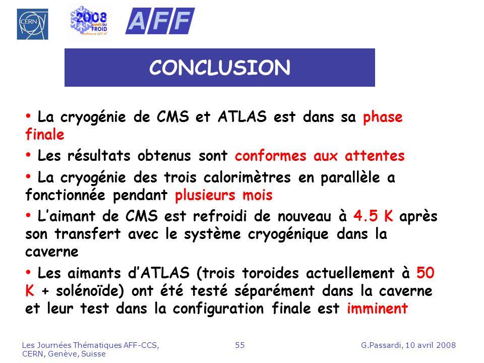 CONCLUSION La cryogénie de CMS et ATLAS est dans sa phase finale