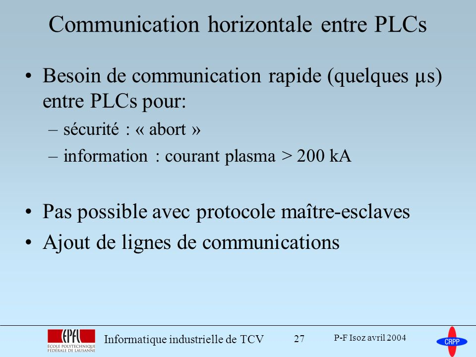 Communication horizontale entre PLCs