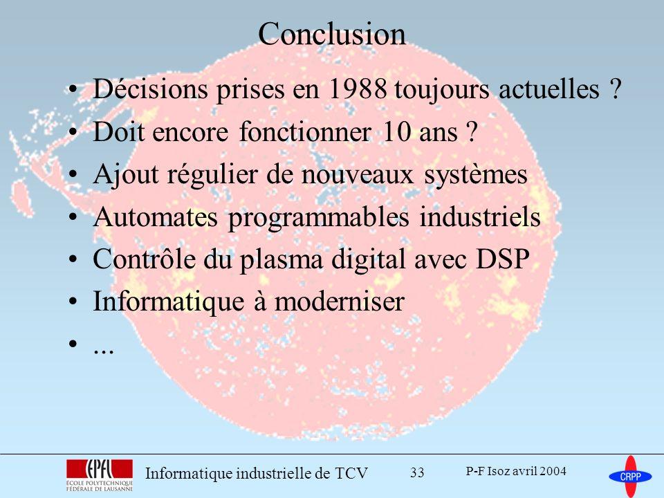 Conclusion Décisions prises en 1988 toujours actuelles