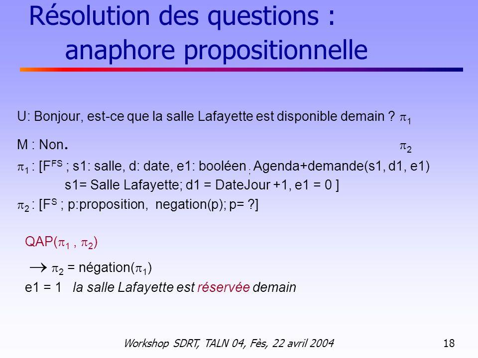 Résolution des questions : anaphore propositionnelle