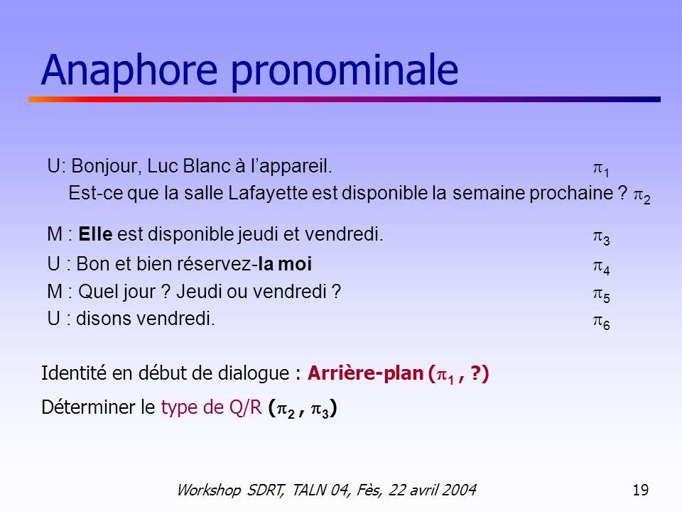 Anaphore pronominale U: Bonjour, Luc Blanc à l'appareil. 1