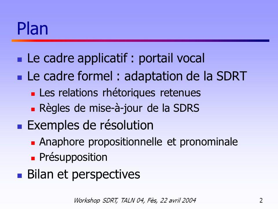 Plan Le cadre applicatif : portail vocal