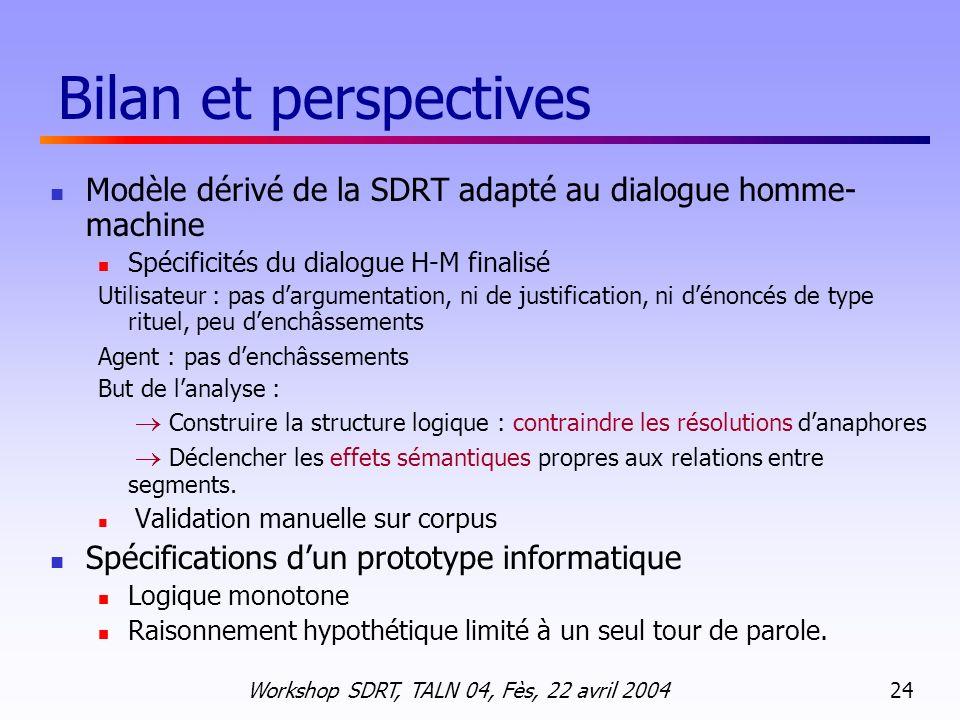 Bilan et perspectives Modèle dérivé de la SDRT adapté au dialogue homme-machine. Spécificités du dialogue H-M finalisé.