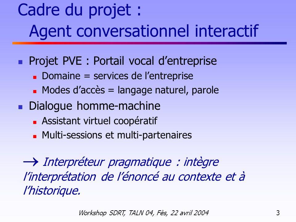 Cadre du projet : Agent conversationnel interactif