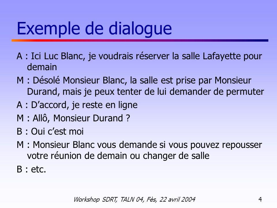 Exemple de dialogue A : Ici Luc Blanc, je voudrais réserver la salle Lafayette pour demain.