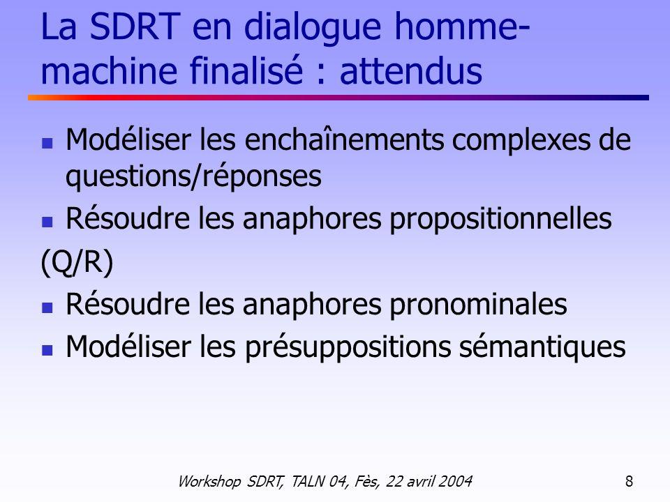 La SDRT en dialogue homme-machine finalisé : attendus