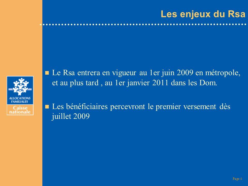 Les enjeux du Rsa Le Rsa entrera en vigueur au 1er juin 2009 en métropole, et au plus tard , au 1er janvier 2011 dans les Dom.