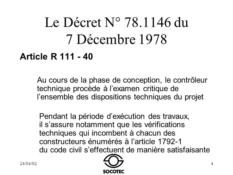 Le Décret N° 78.1146 du 7 Décembre 1978