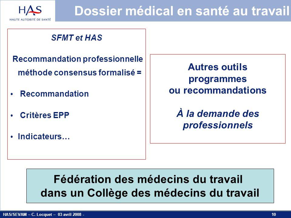 Dossier médical en santé au travail