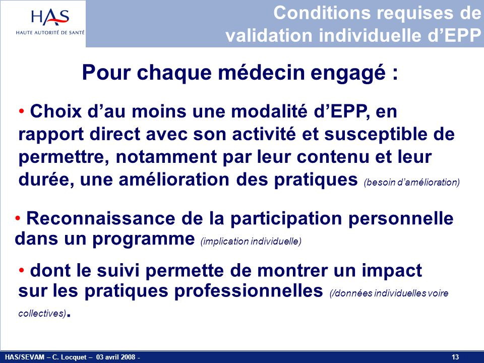 Conditions requises de validation individuelle d'EPP
