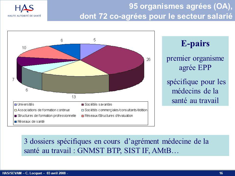 E-pairs 95 organismes agrées (OA),