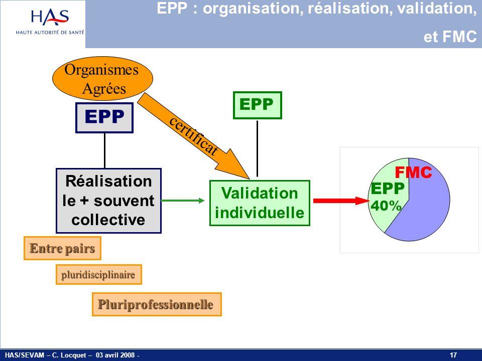 EPP EPP : organisation, réalisation, validation, et FMC Organismes