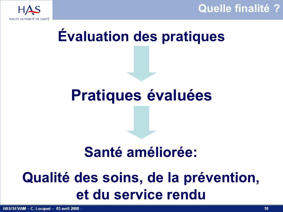Pratiques évaluées Évaluation des pratiques Santé améliorée:
