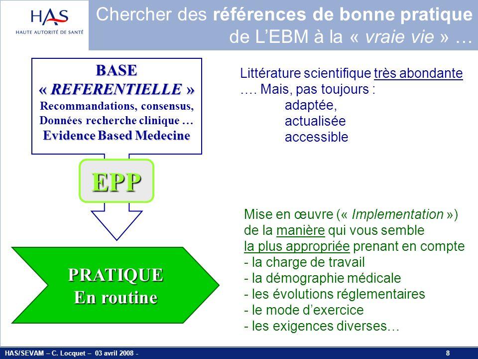 EPP Chercher des références de bonne pratique