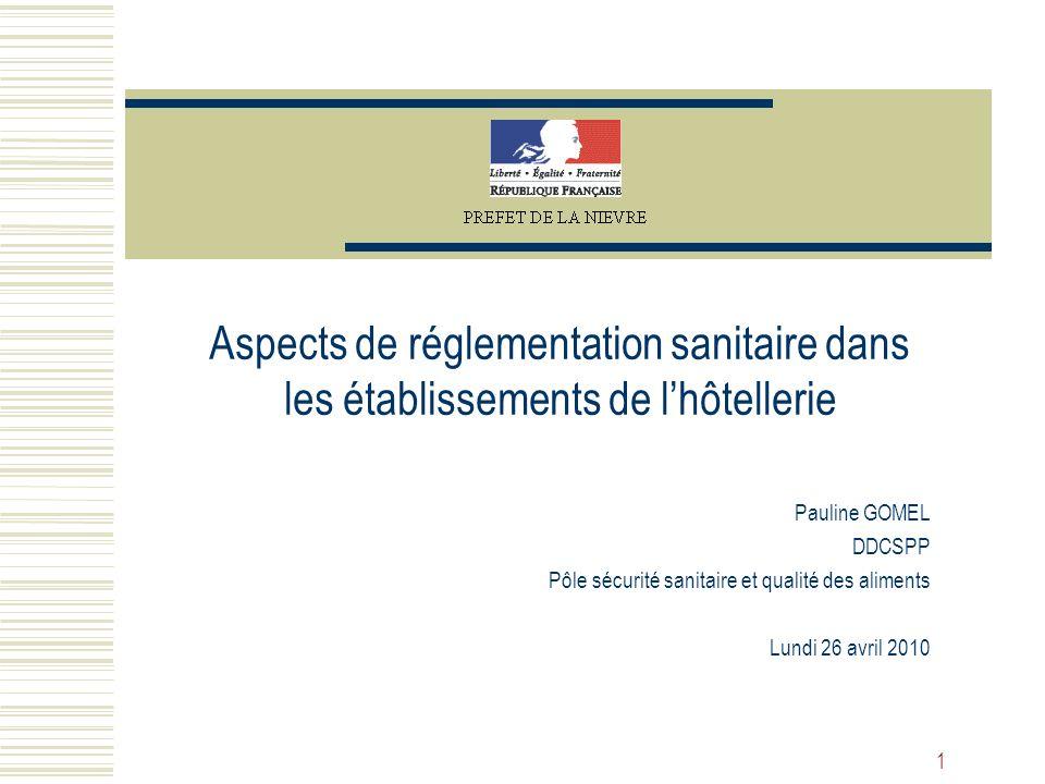 Aspects de réglementation sanitaire dans les établissements de l'hôtellerie