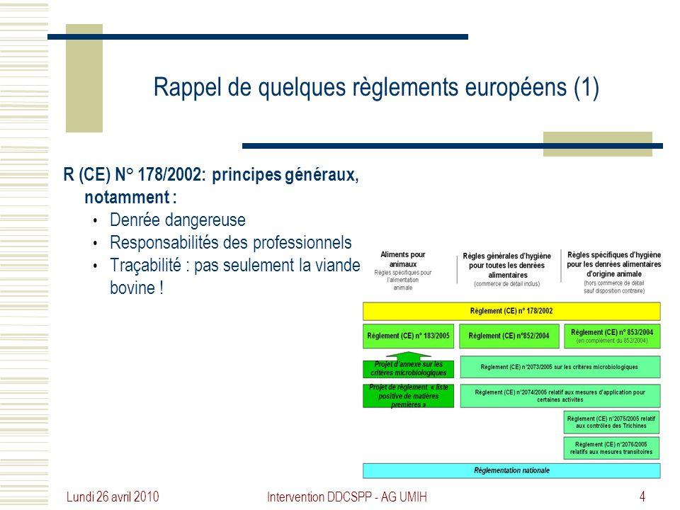 Rappel de quelques règlements européens (1)