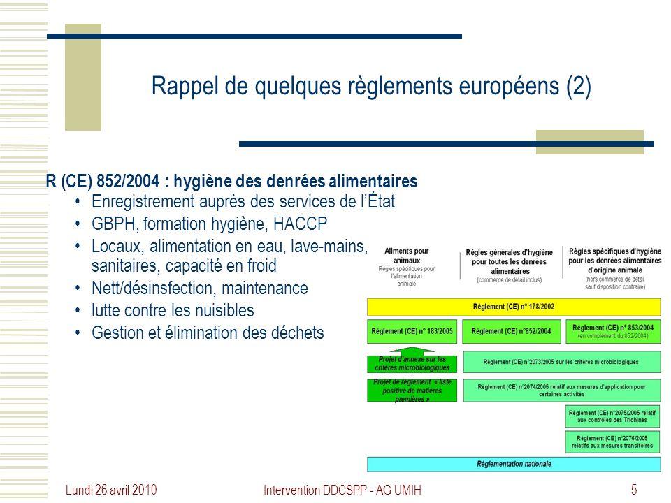 Rappel de quelques règlements européens (2)