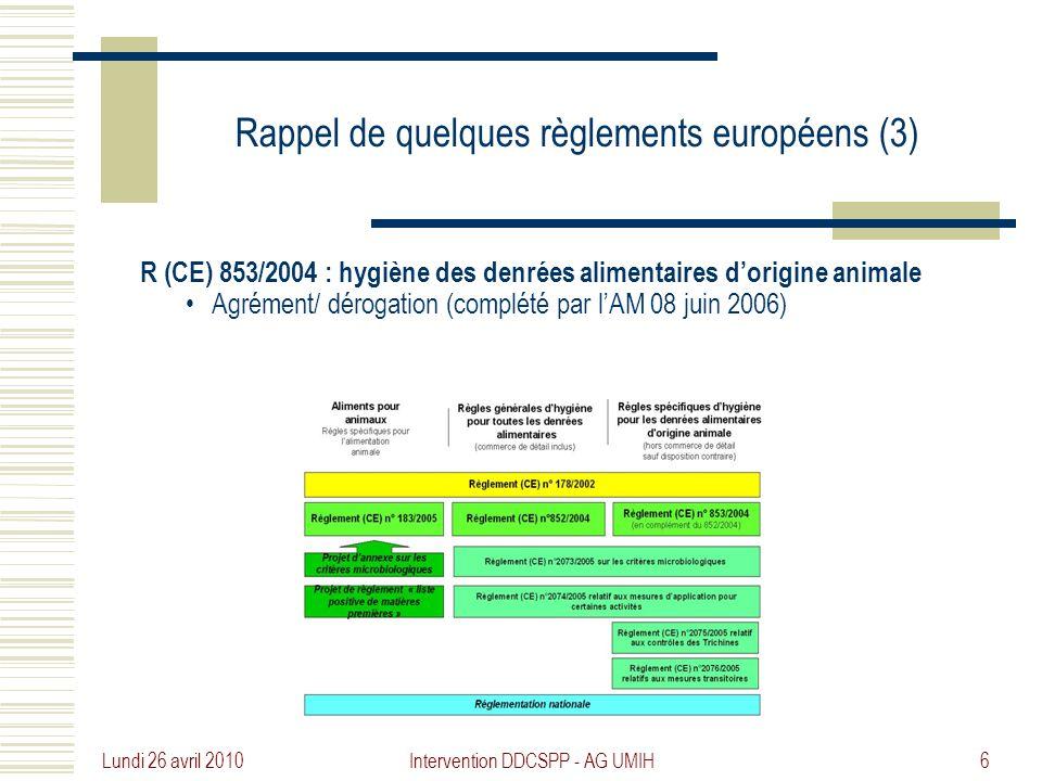 Rappel de quelques règlements européens (3)