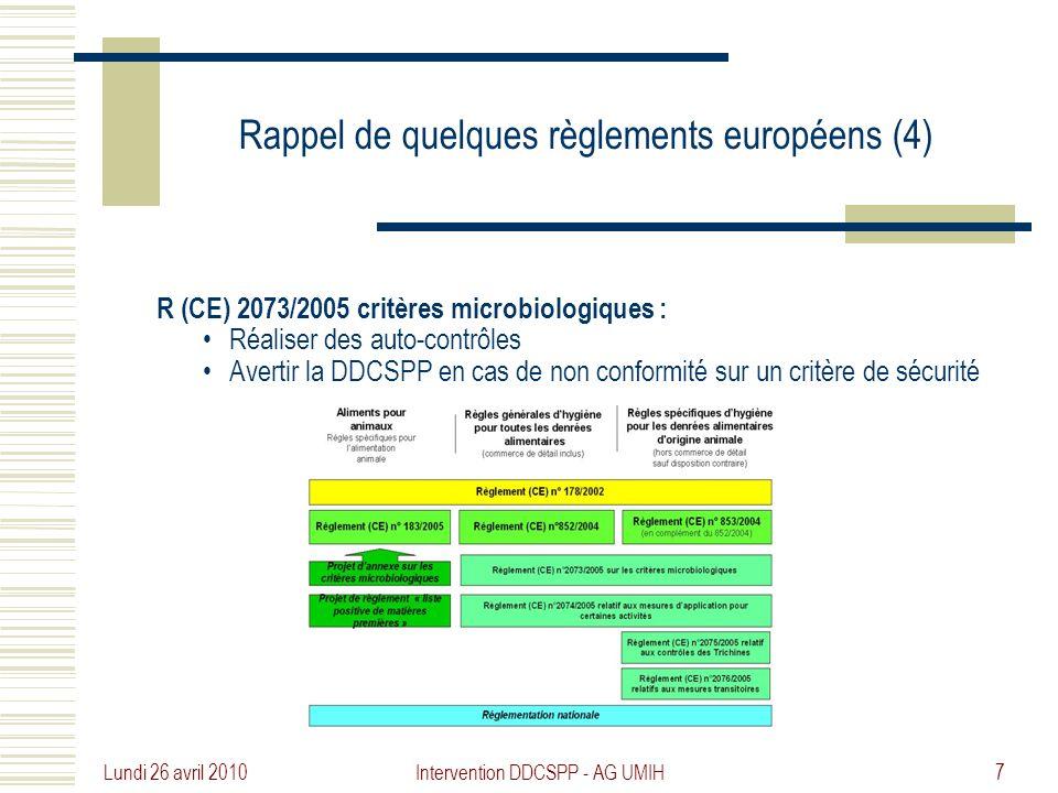 Rappel de quelques règlements européens (4)