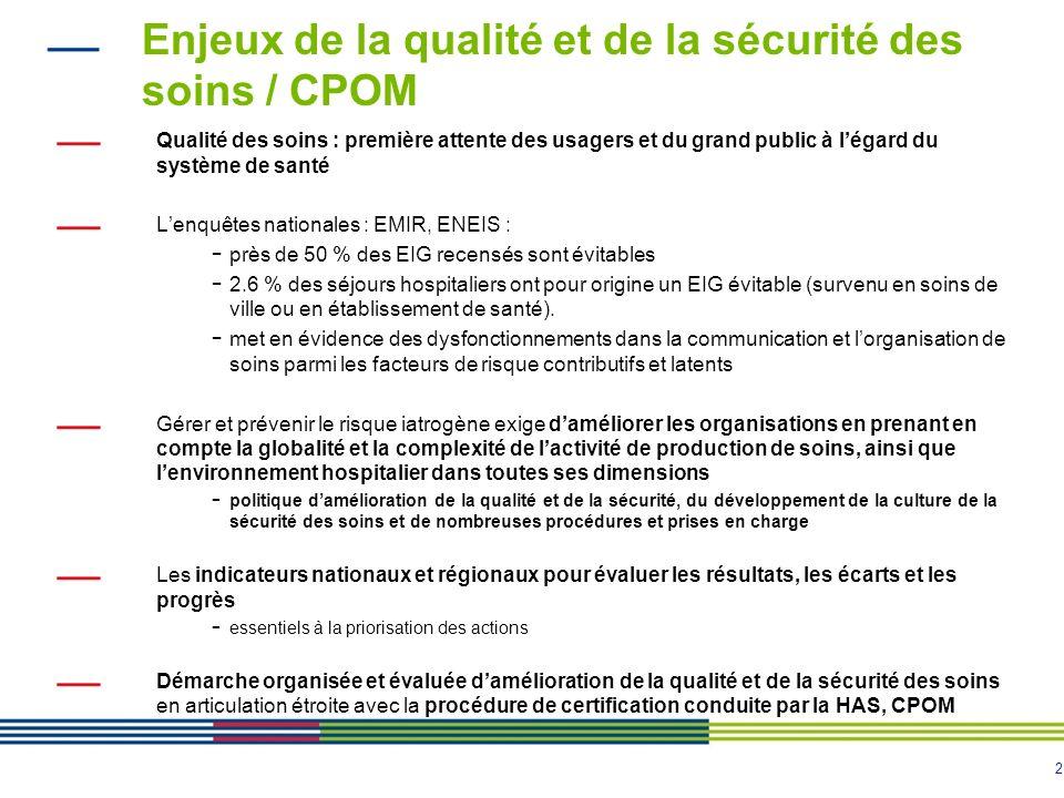Enjeux de la qualité et de la sécurité des soins / CPOM