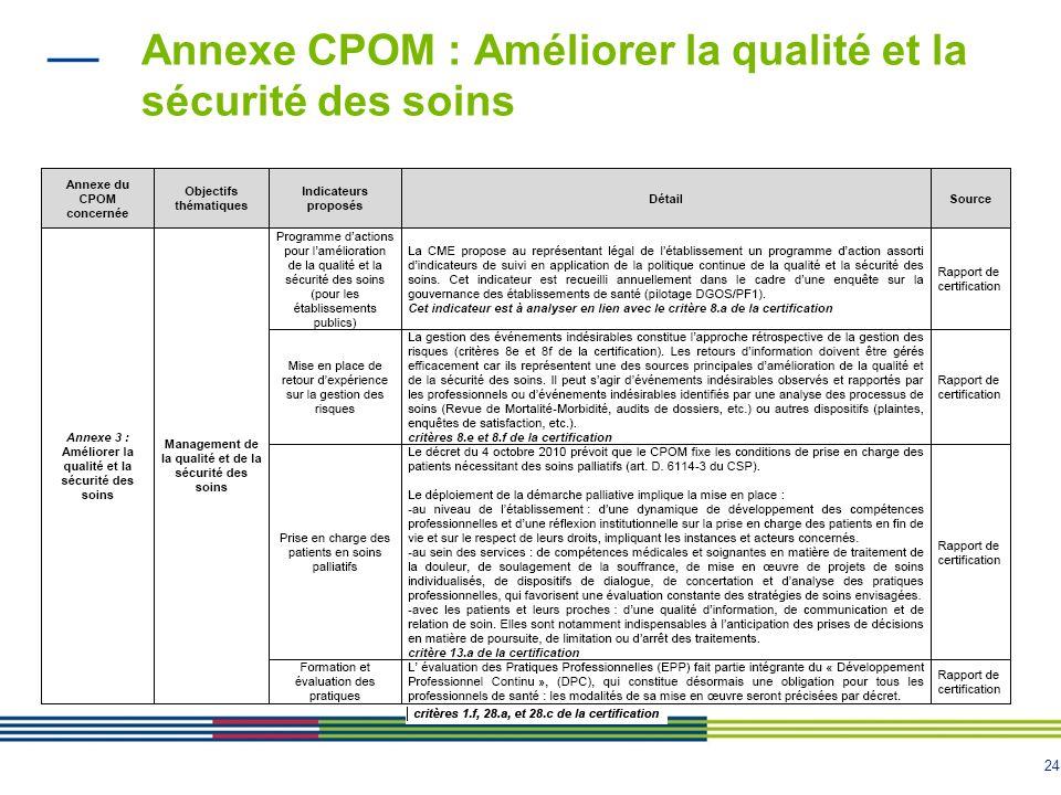 Annexe CPOM : Améliorer la qualité et la sécurité des soins