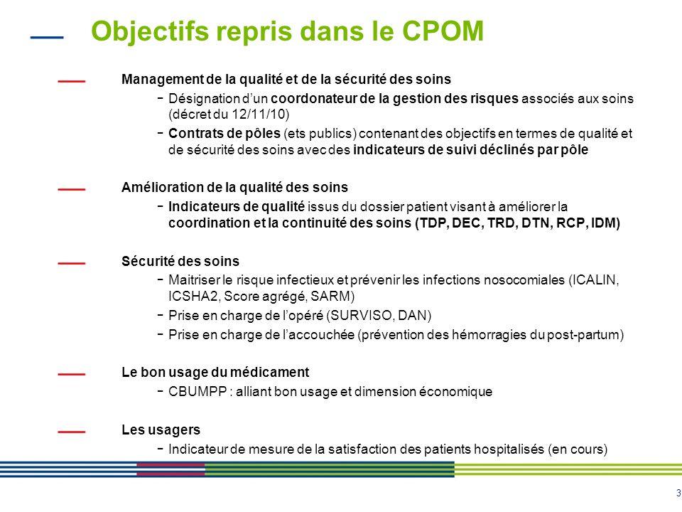 Objectifs repris dans le CPOM