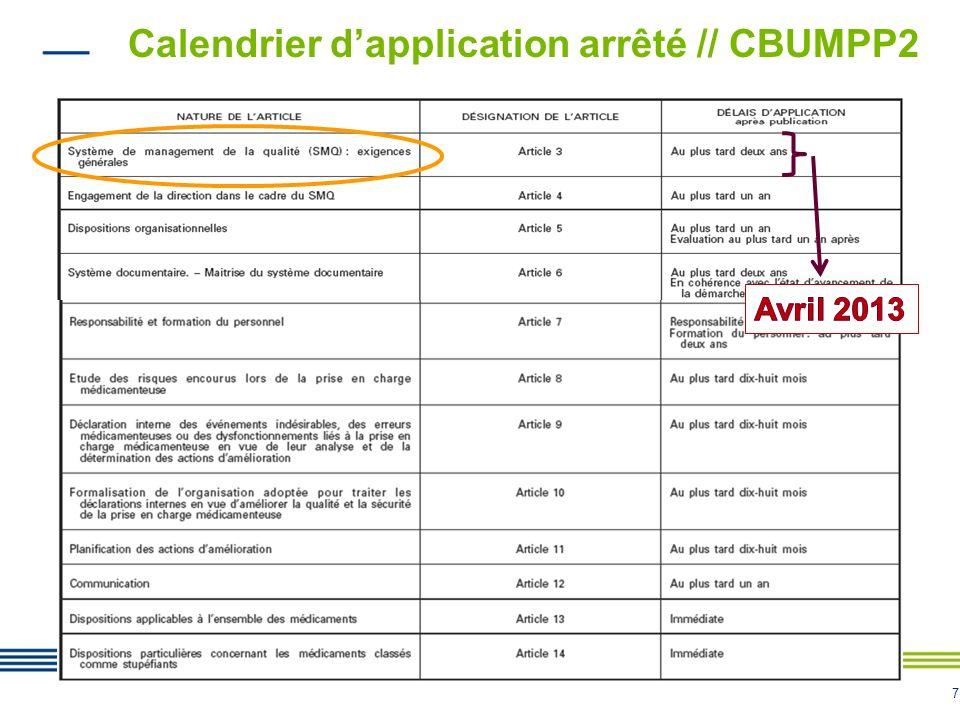 Calendrier d'application arrêté // CBUMPP2