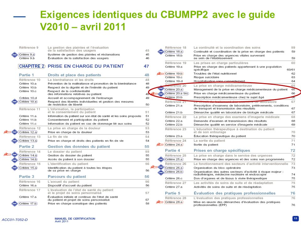 Exigences identiques du CBUMPP2 avec le guide V2010 – avril 2011