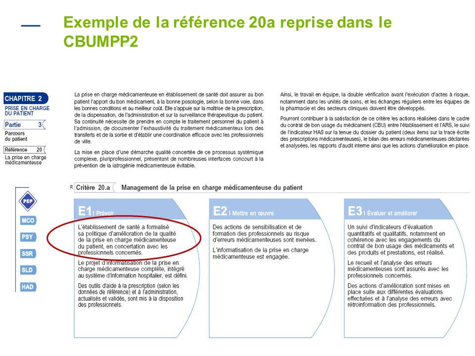 Exemple de la référence 20a reprise dans le CBUMPP2