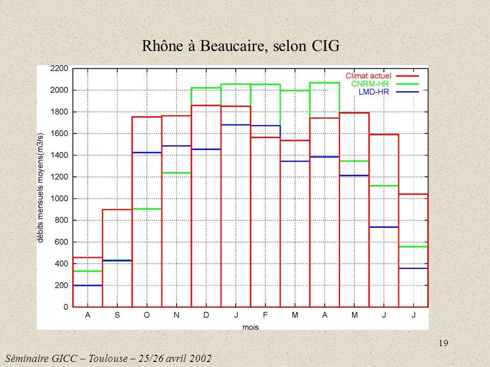 Rhône à Beaucaire, selon CIG