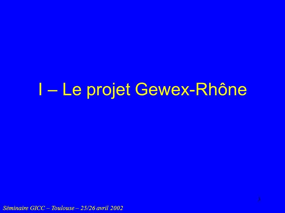 I – Le projet Gewex-Rhône