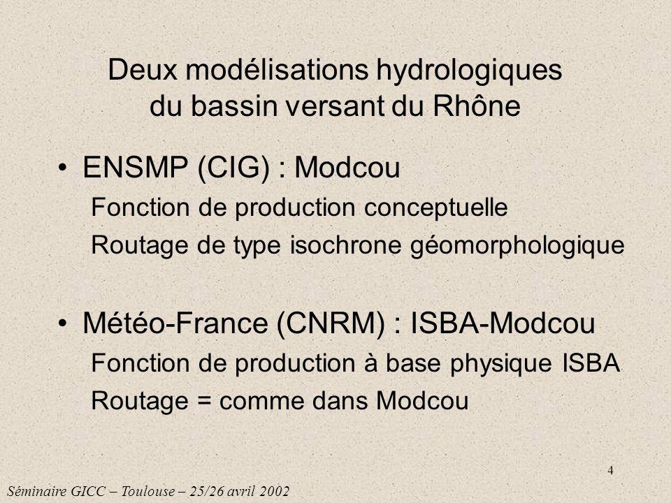 Deux modélisations hydrologiques du bassin versant du Rhône
