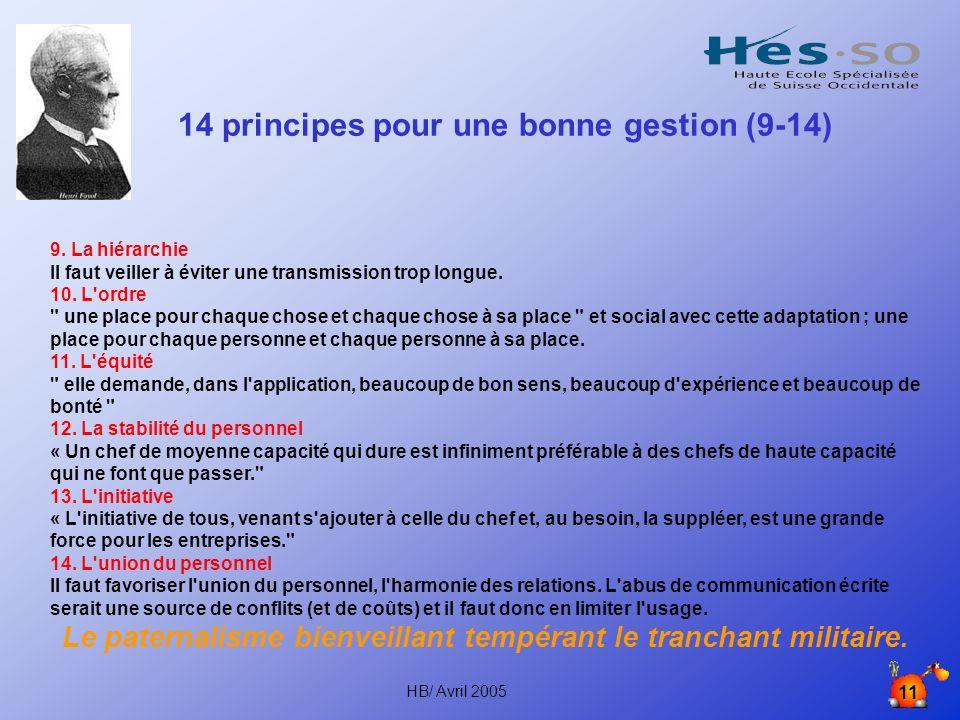 14 principes pour une bonne gestion (9-14)