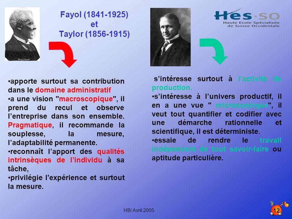 Fayol (1841-1925) et Taylor (1856-1915) apporte surtout sa contribution dans le domaine administratif.