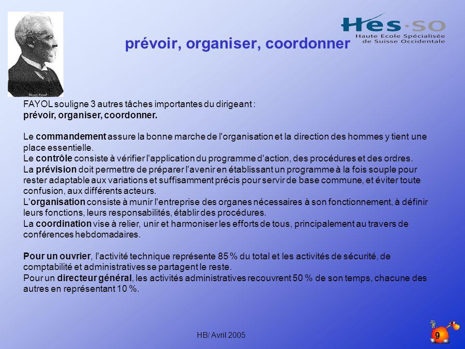 prévoir, organiser, coordonner