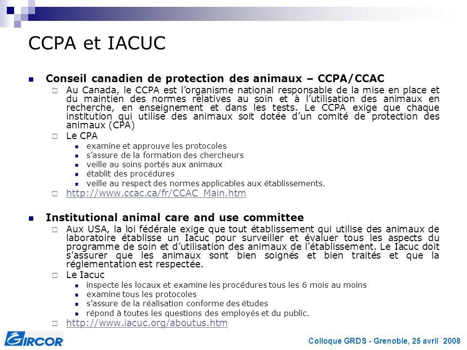 CCPA et IACUC Conseil canadien de protection des animaux – CCPA/CCAC