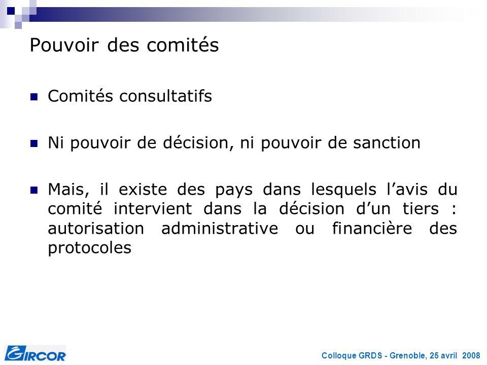 Pouvoir des comités Comités consultatifs